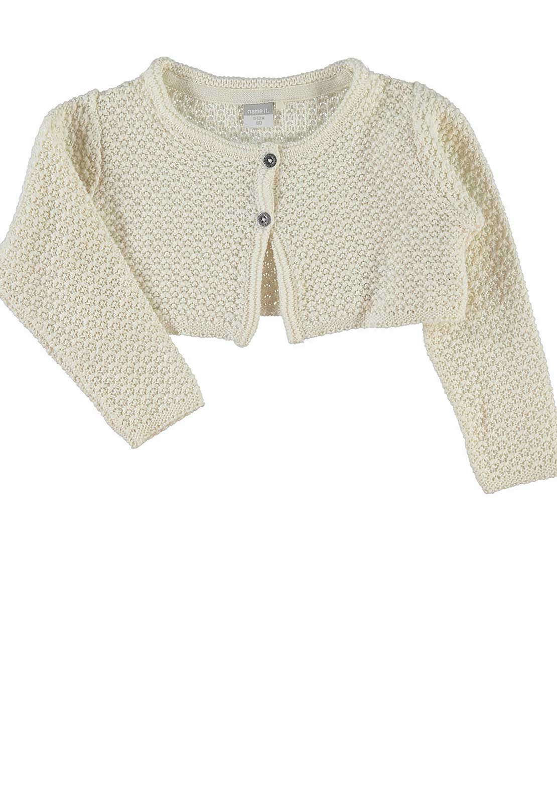 Name It Girls Olero Knitted Bolero, Vanilla Ice