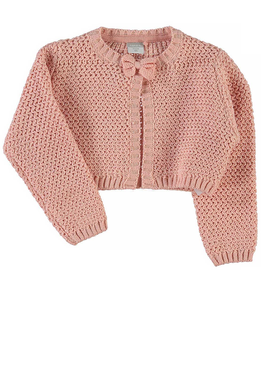 Name It Girls Pinella Knitted Bolero Cardigan, Coral Cloud
