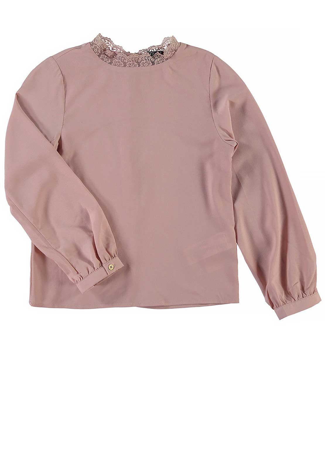 Name It Girls Malli Chiffon Long Sleeve Lace Neck Top, Misty Rose