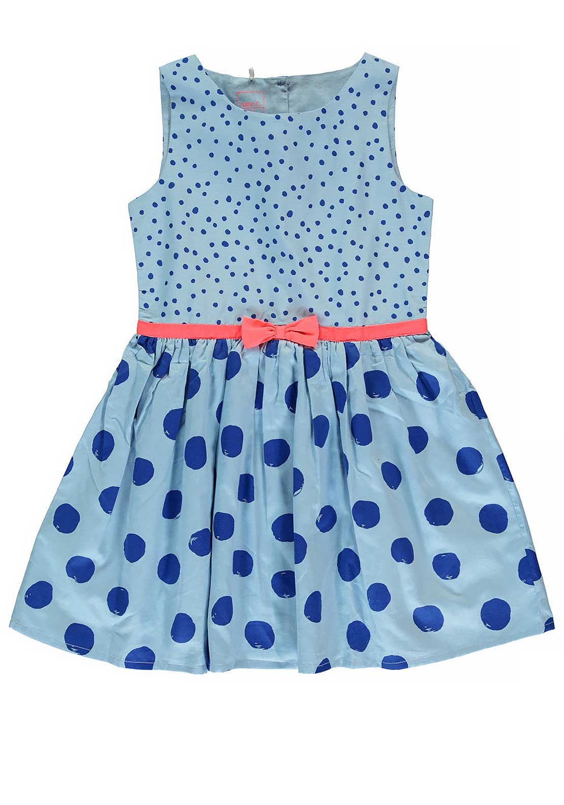 Name It Girls Polka Dot Bow Dress, Cashmere Blue