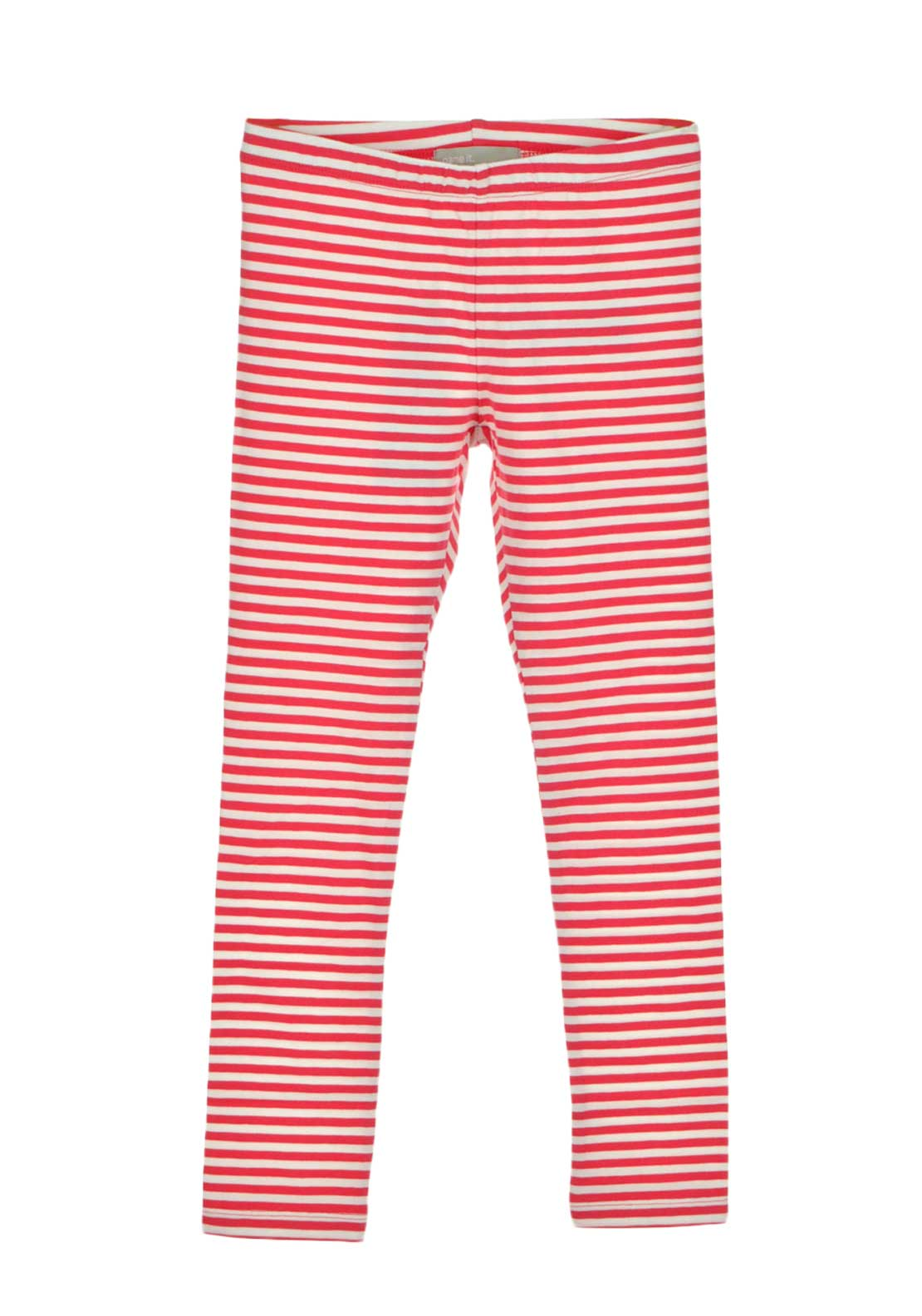 Name It Girls Striped Leggings, Pink and White