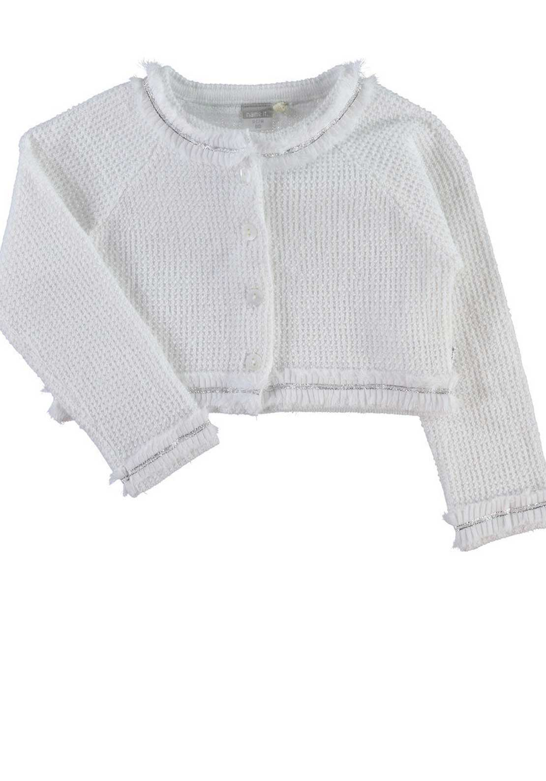Name It Mini Girls Gullie Knitted Bolero, Bright White