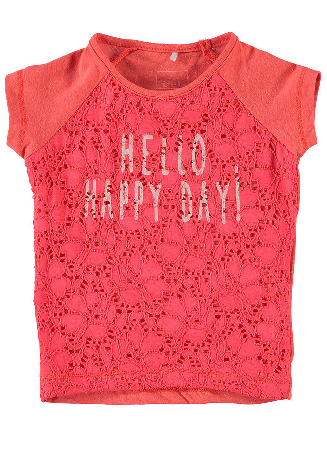 Name It Mini Girls Hakea Lace Happy Day Top, Neon Coral