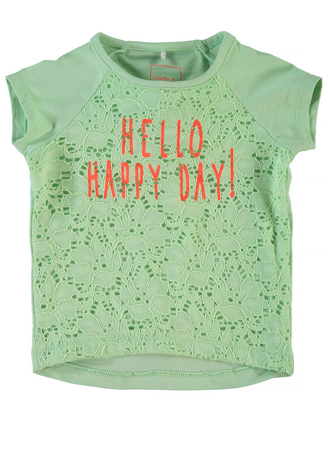 Name It Mini Girls Hakea Lace Happy Day Top, Pastel Green