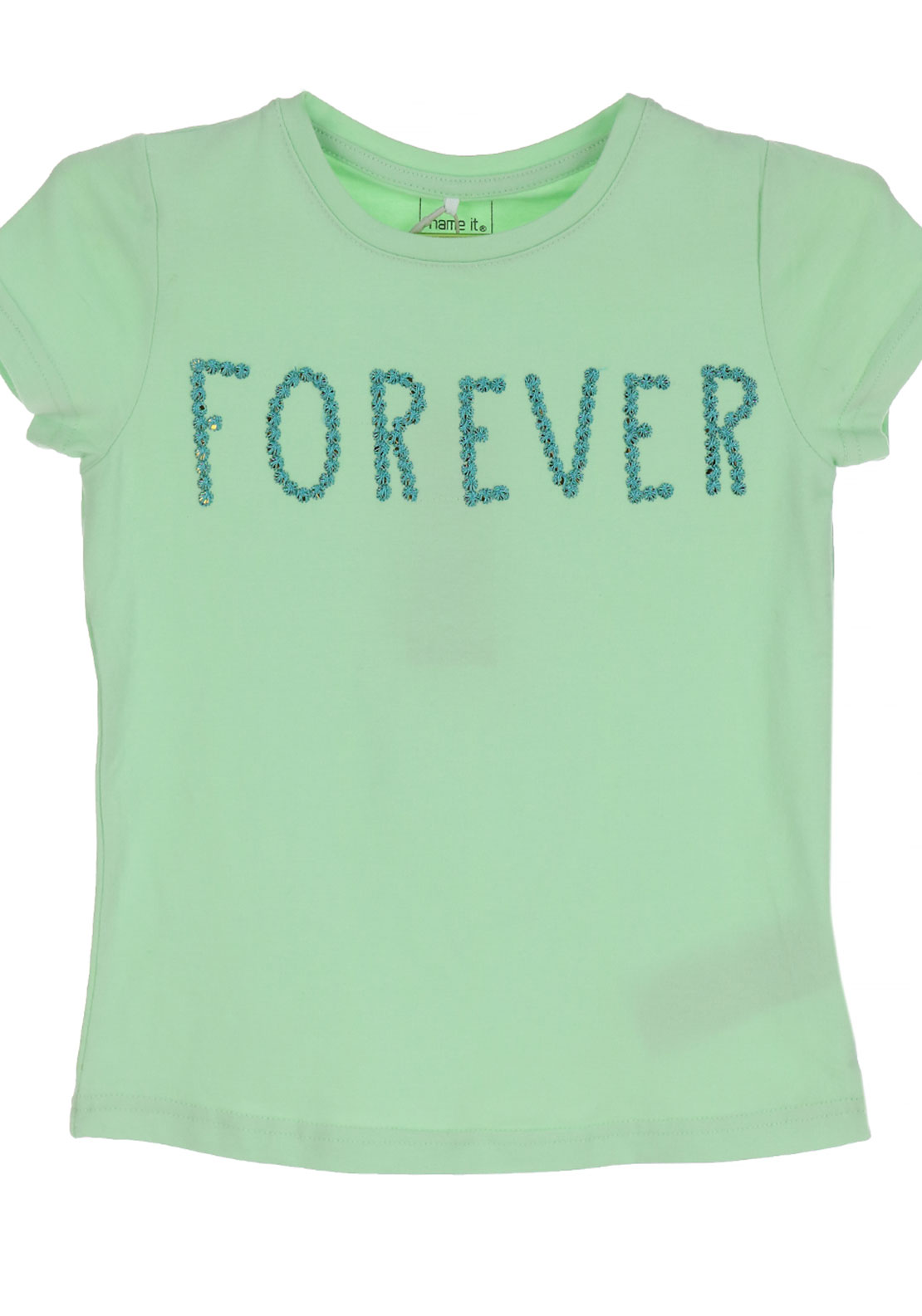Name It Girls Haminna Forever Embroidered T-Shirt, Pastel Green