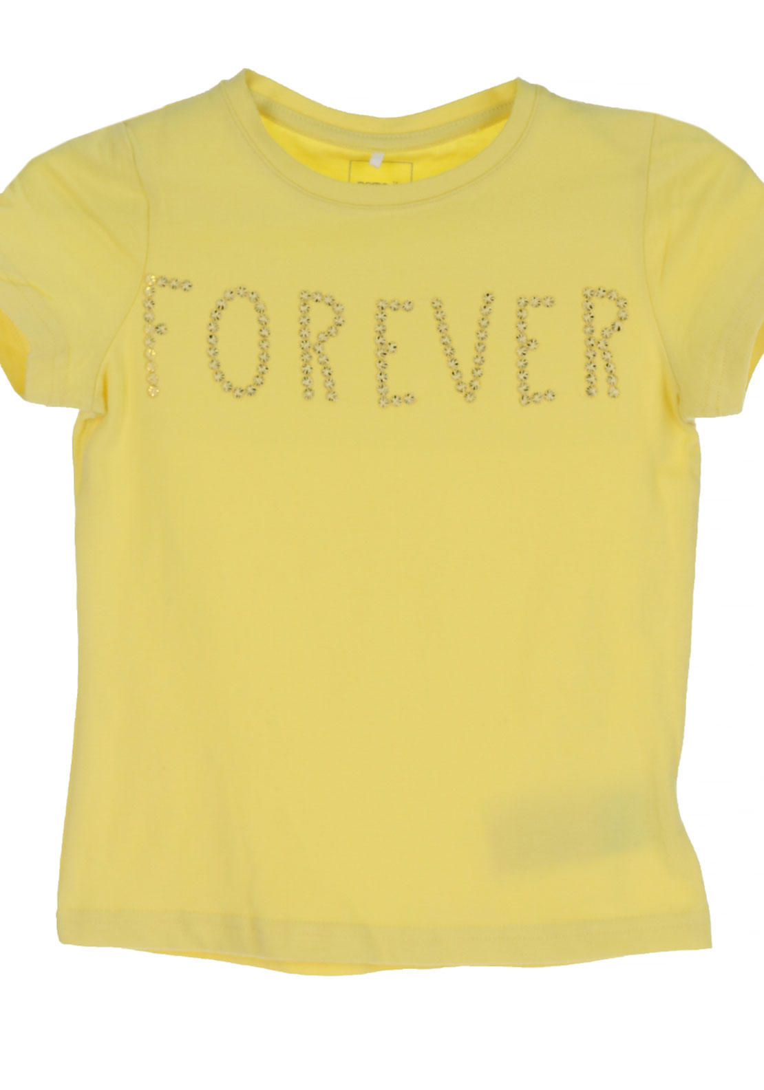 Name It Girls Haminna Forever Embroidered T-Shirt, Popcorn Yellow