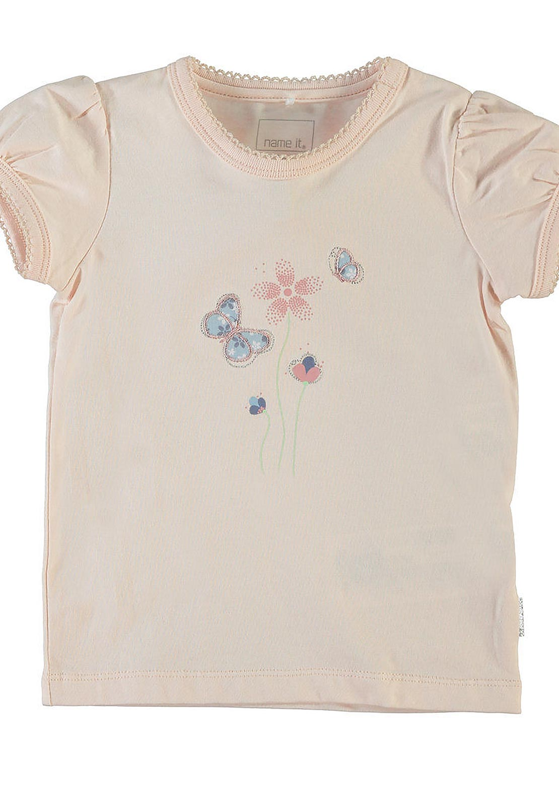 Name It Baby Girls Bella Butterfly Embroidered Top, Pink Pearl