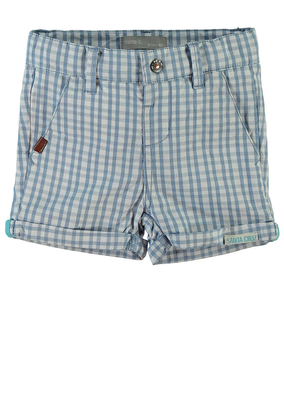 Name It Mini Boys Sam Chequered Chino Shorts, Blue