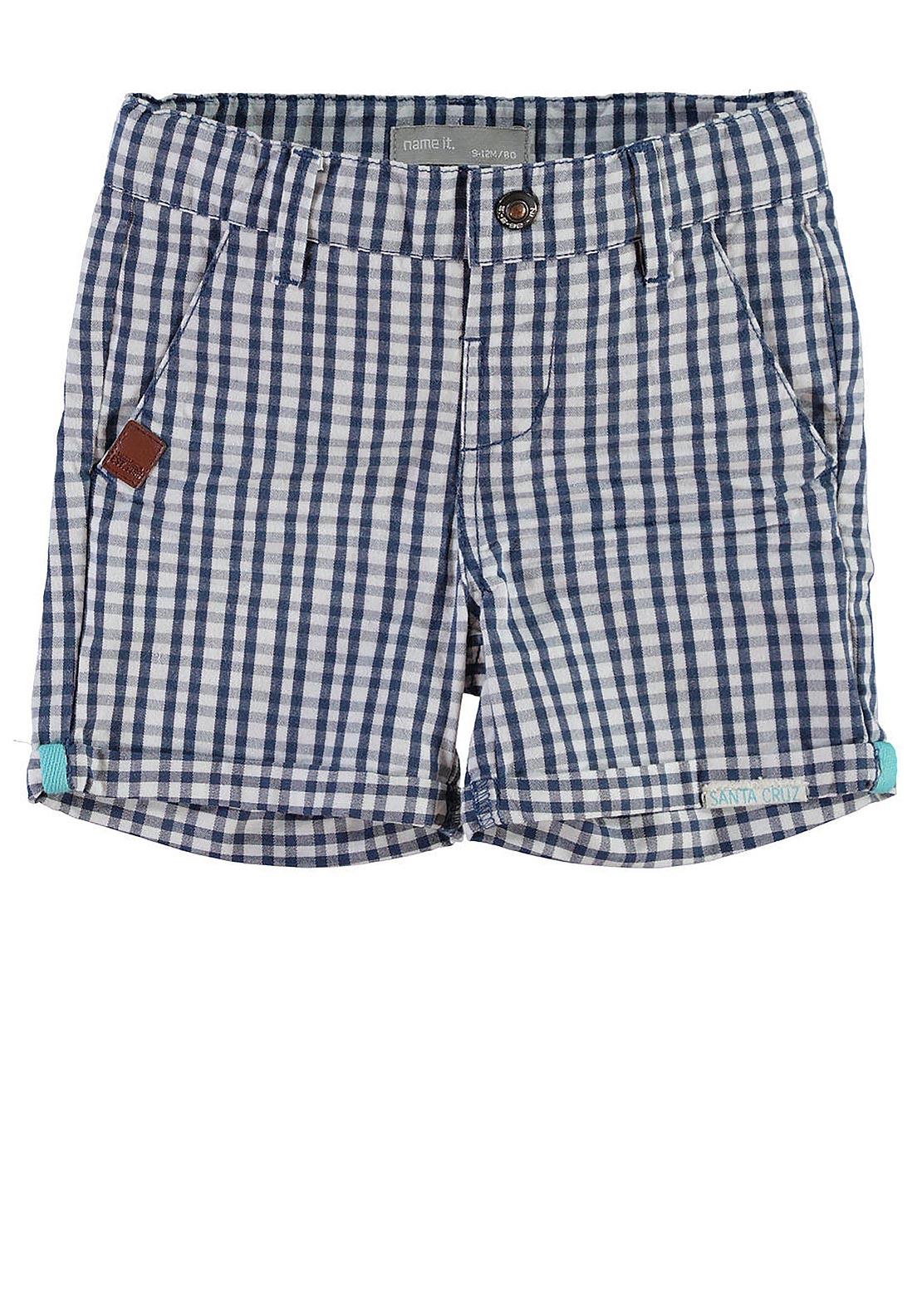 Name It Mini Boys Sam Chequered Chino Shorts, Navy