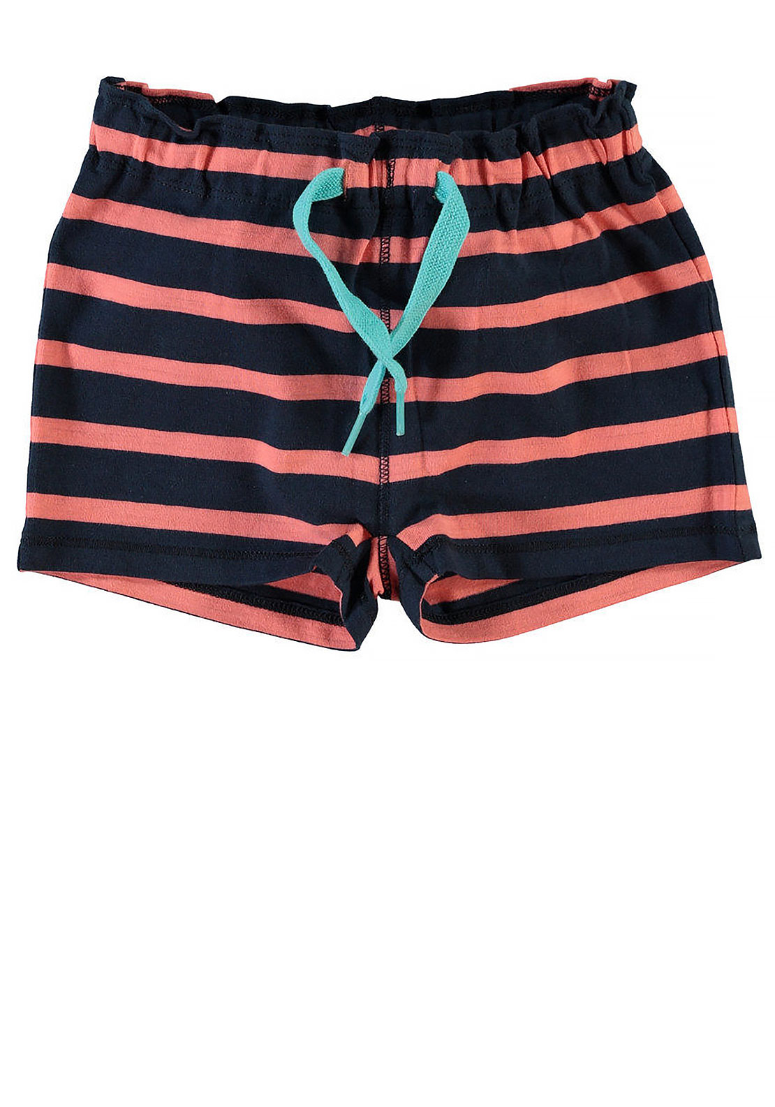 Name It Mini Boys Striped Shorts, Coral and Navy