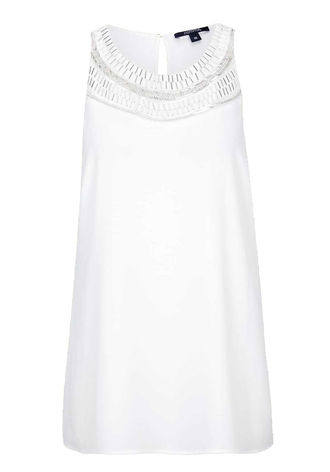 Comma Embellished Sleeveless Top, Ivory