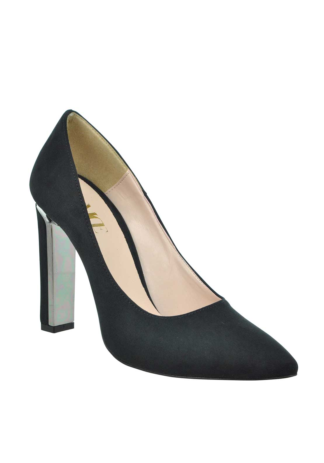 McElhinney's Faux Suede pointed Toe Chunky Heeled Shoes, Black