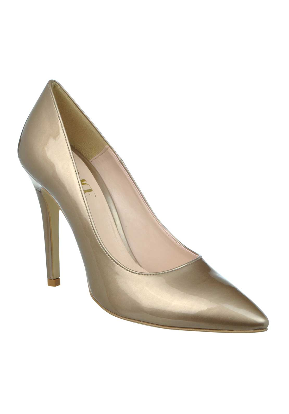 McElhinney's Patent Pointed Toe Heeled Shoes, Taupe