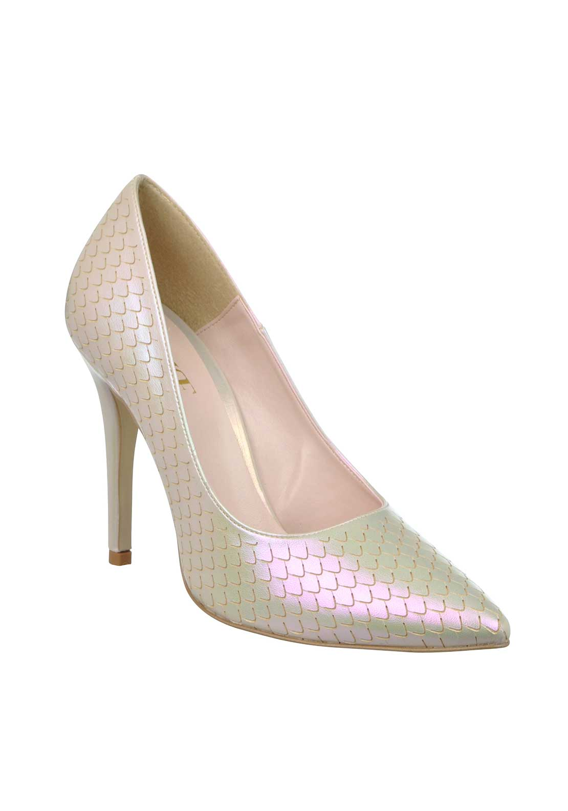 McElhinney's Shimmering Mermaid Print Pointed Toe Heeled Shoes, Cream