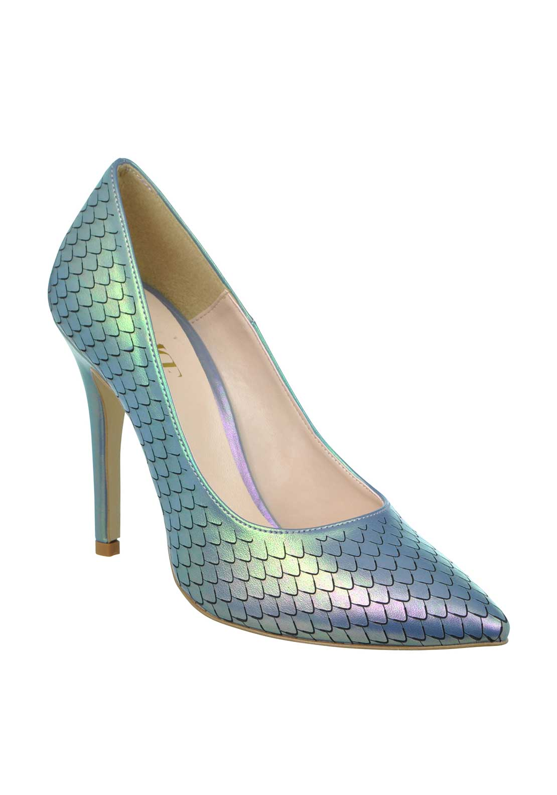 McElhinney's Shimmering Mermaid Print Pointed Toe Heeled Shoes, Blue
