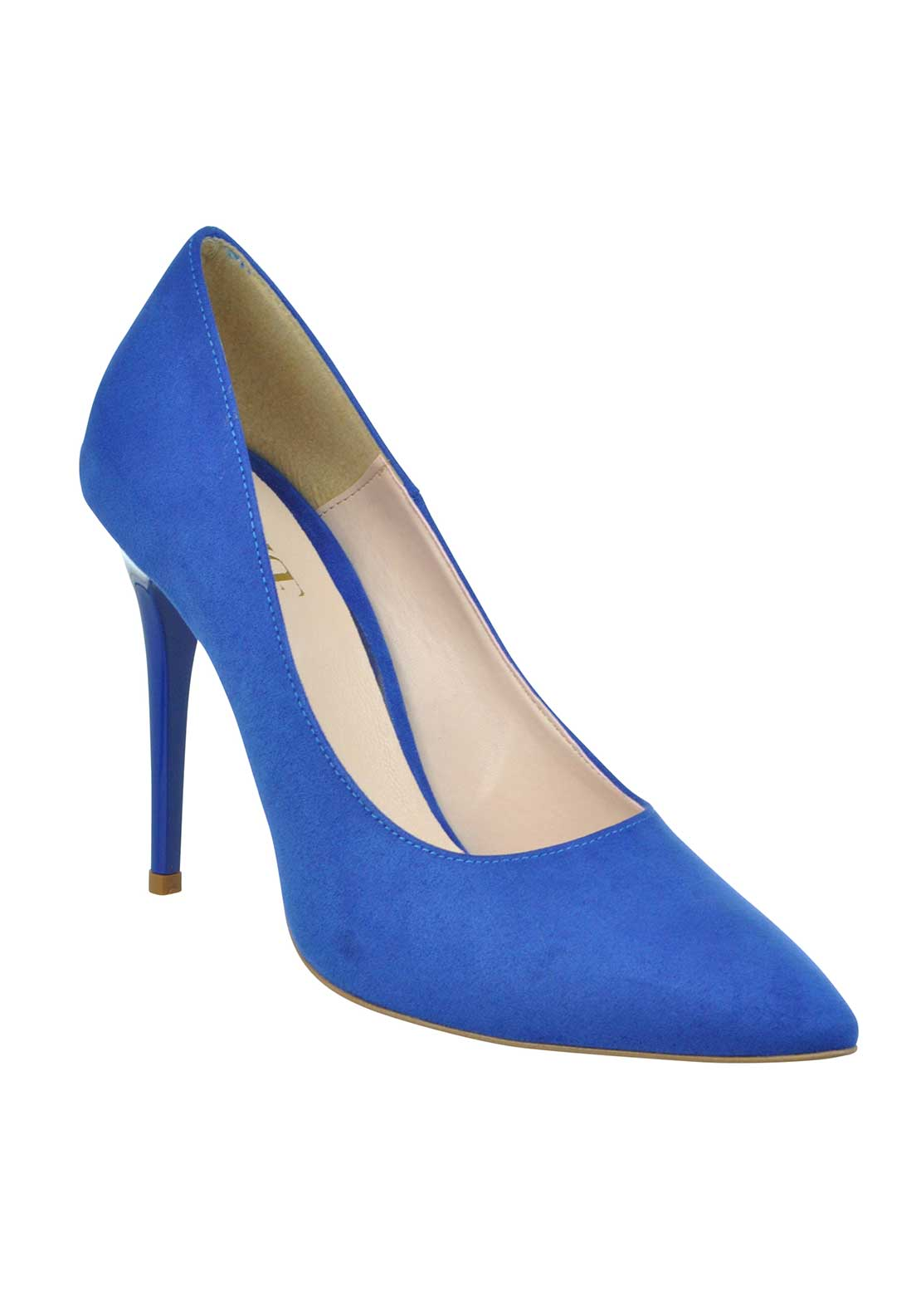 McElhinney's Faux Suede Pointed Toe Heeled Shoes, Blue