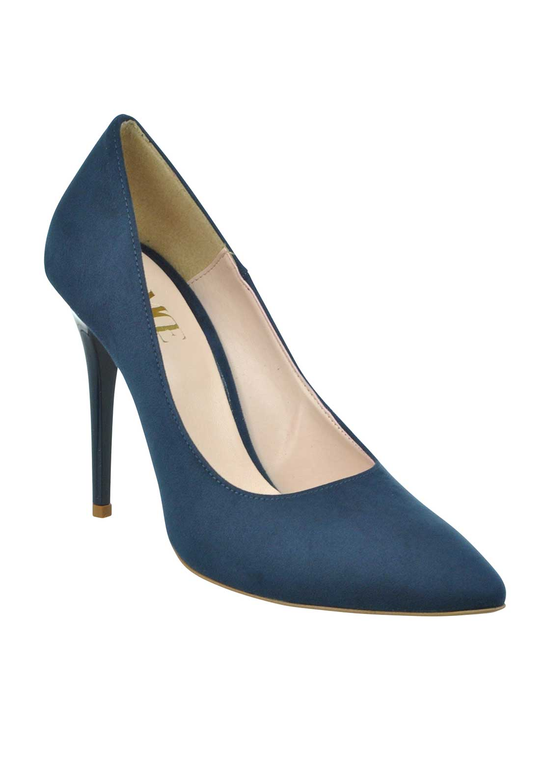 McElhinney's Faux Suede Pointed Toe Heeled Shoes, Navy