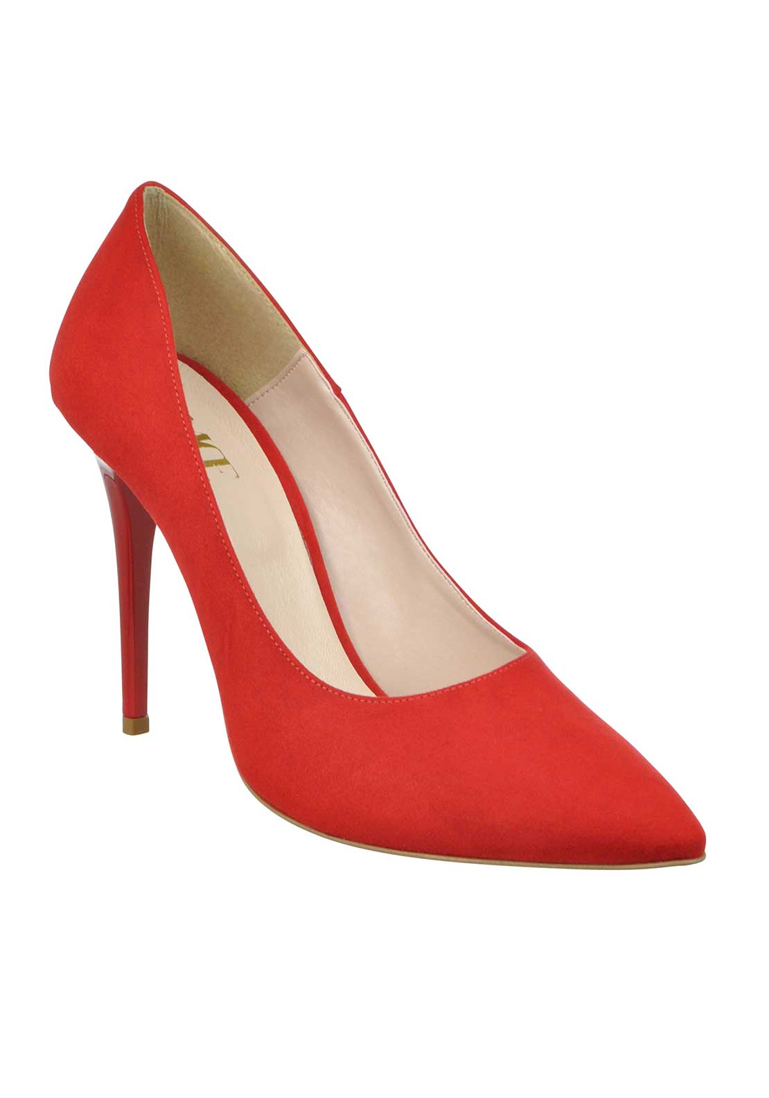 McElhinney's Faux Suede Pointed Toe Heeled Shoes, Red