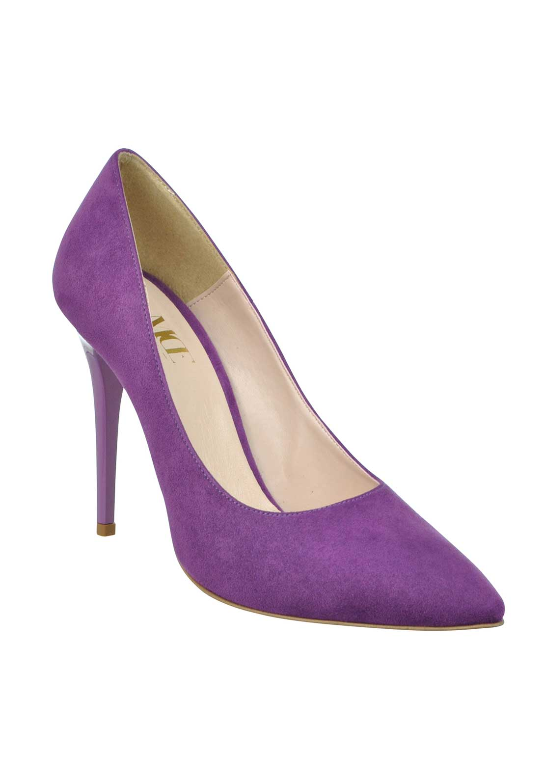 McElhinney's Faux Suede Pointed Toe Heeled Shoes, Violet
