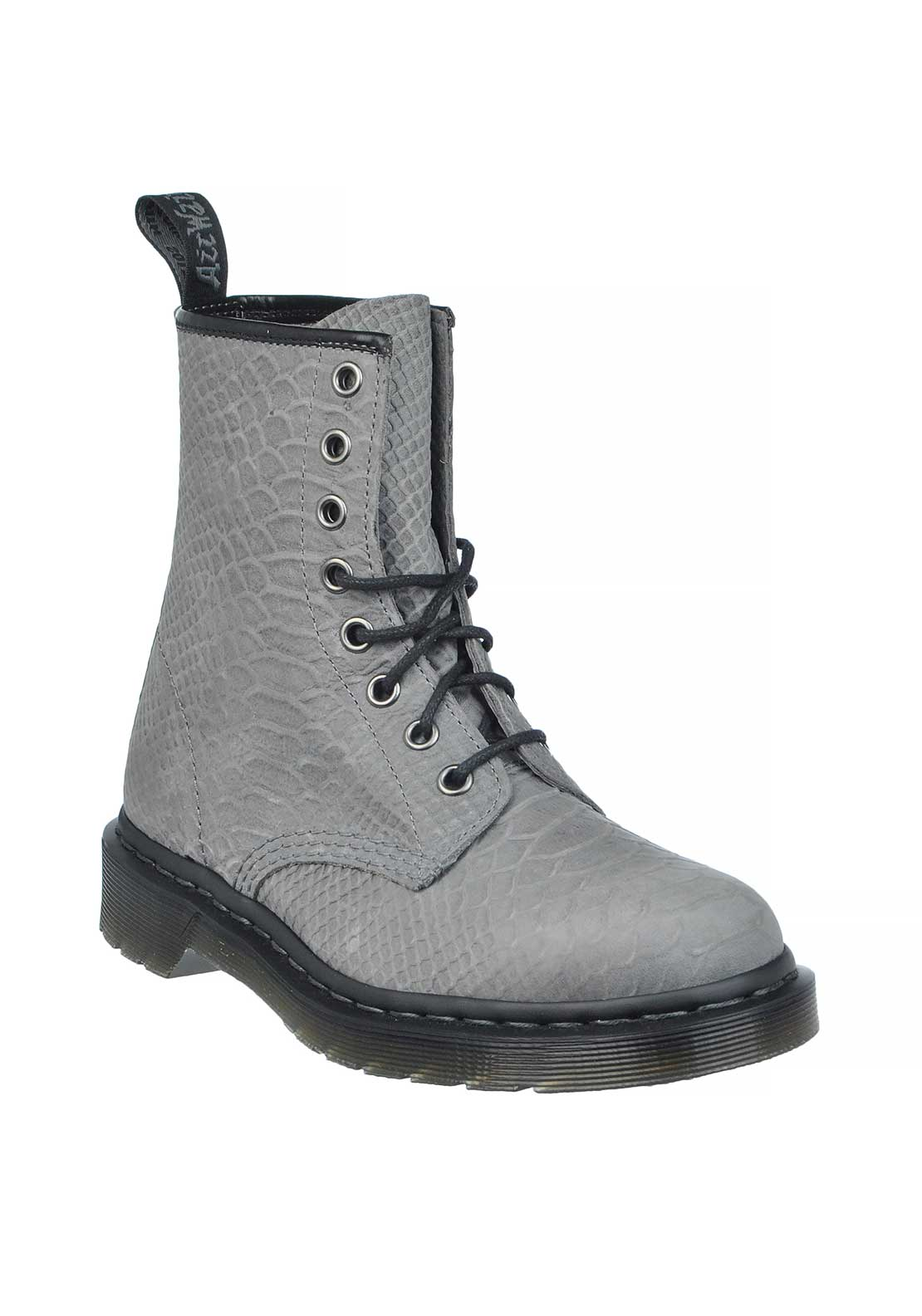 Dr Martens Air Wair Leather Reptile Print Pascal Laced Boots, Python Grey