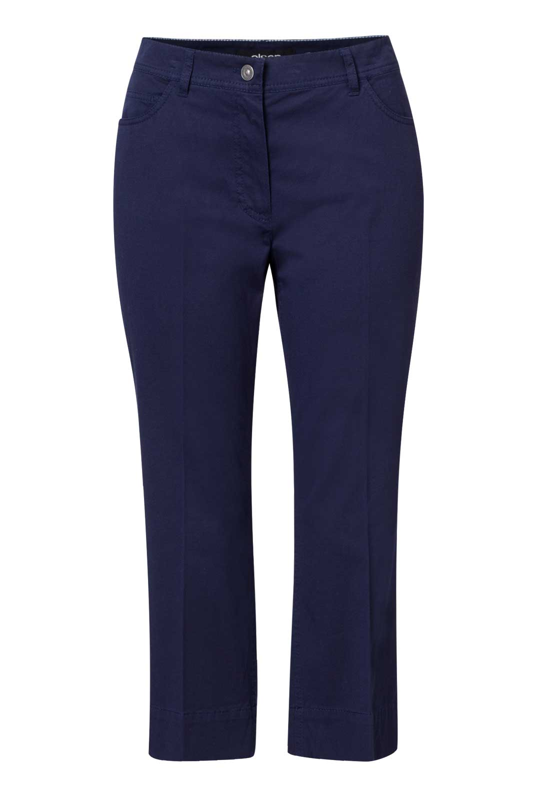 Olsen Lisa Cotton Cropped Trousers Navy
