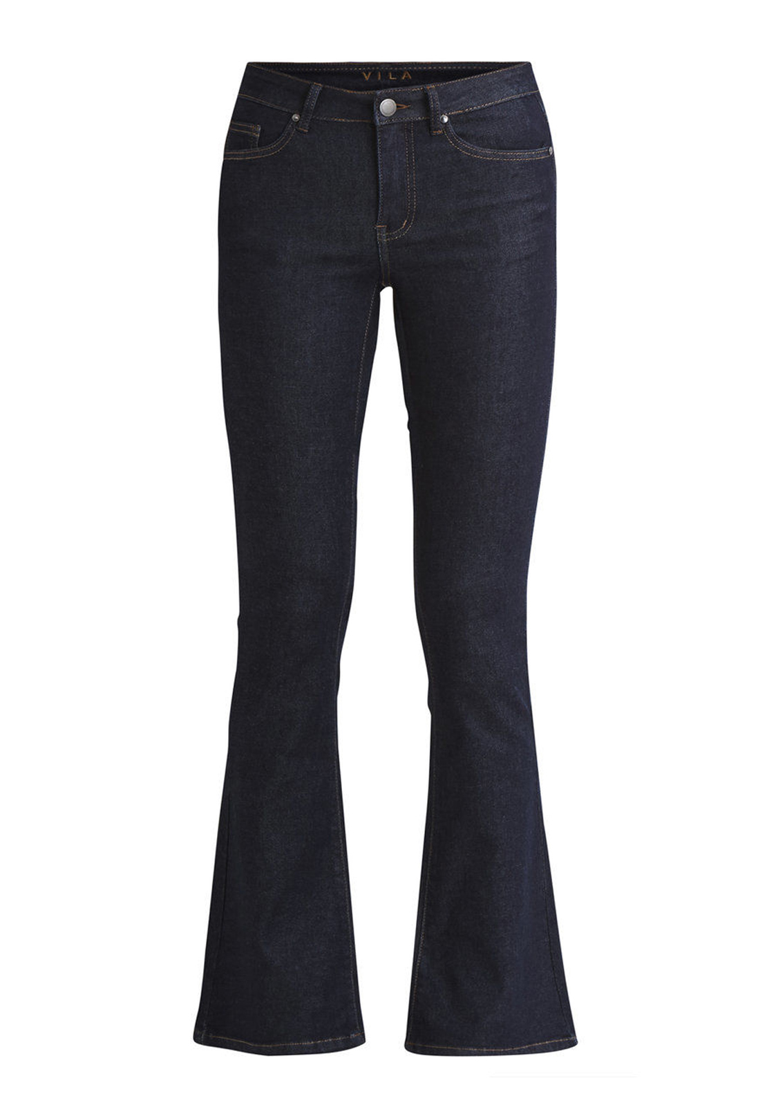 Vila Calm Flared Jeans, Dark Blue