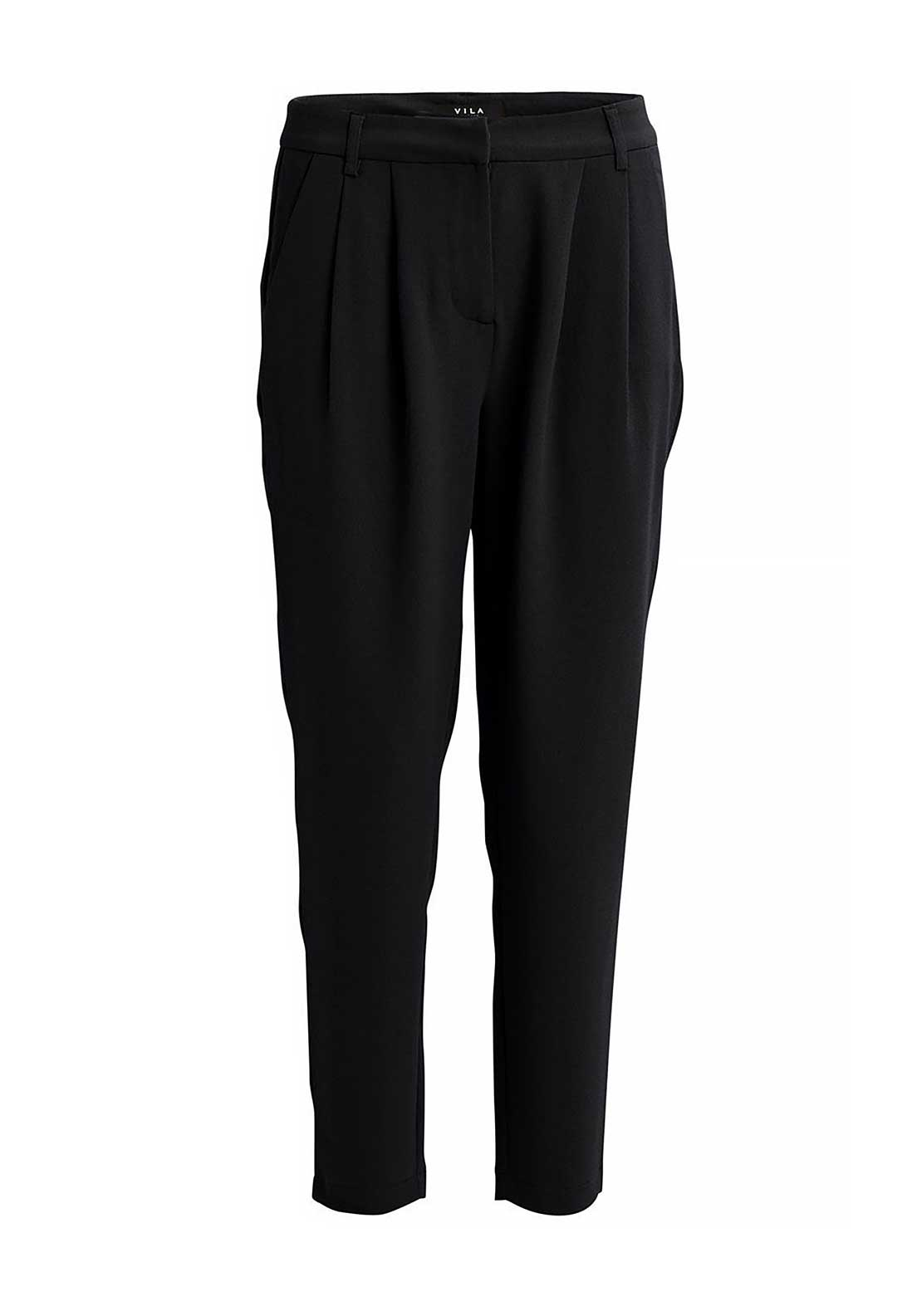Vila Fera 7/8 Length Tapered Trousers, Black