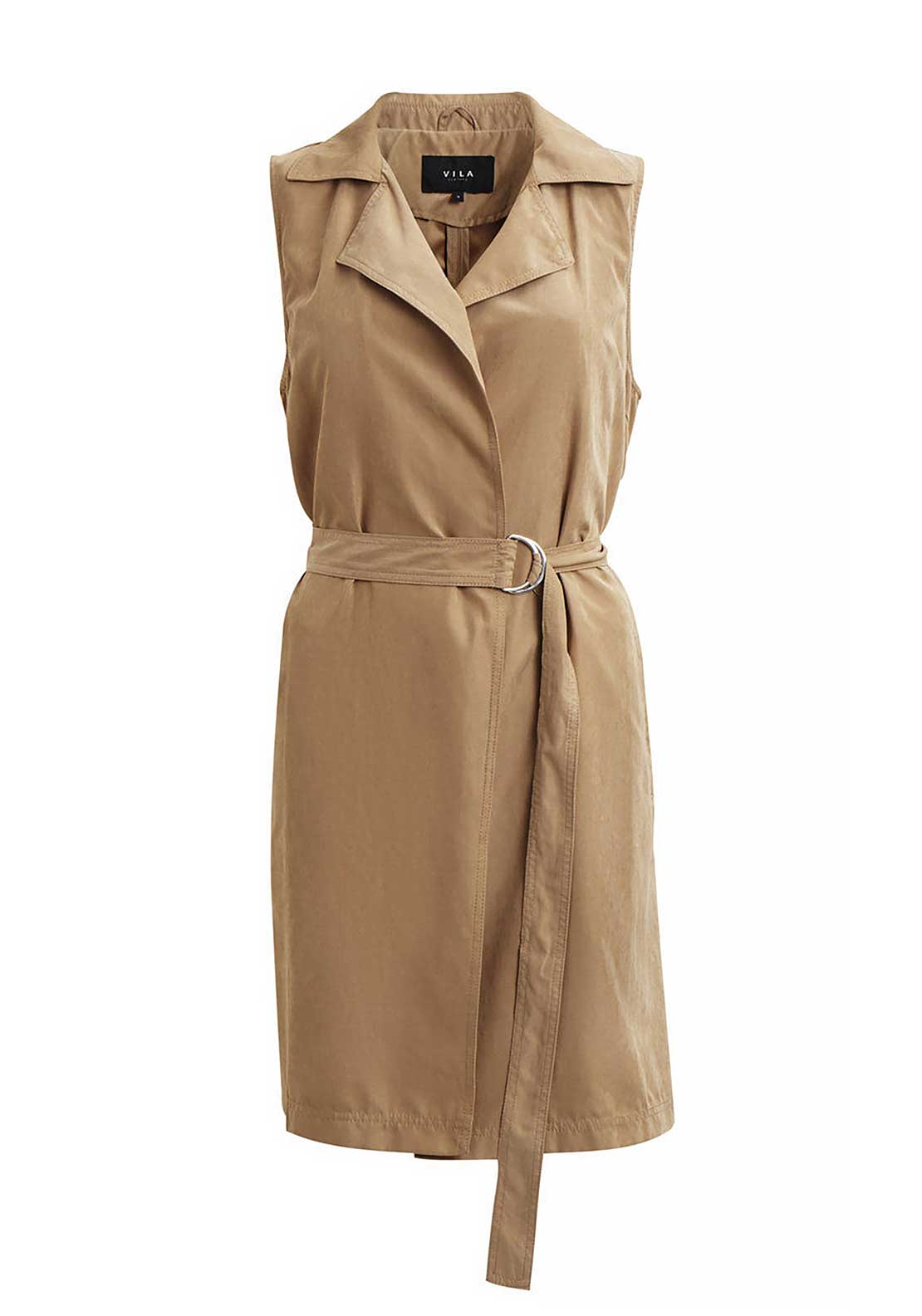 Vila Emmely Sleeveless Long Waistcoat Jacket, Dusty Camel