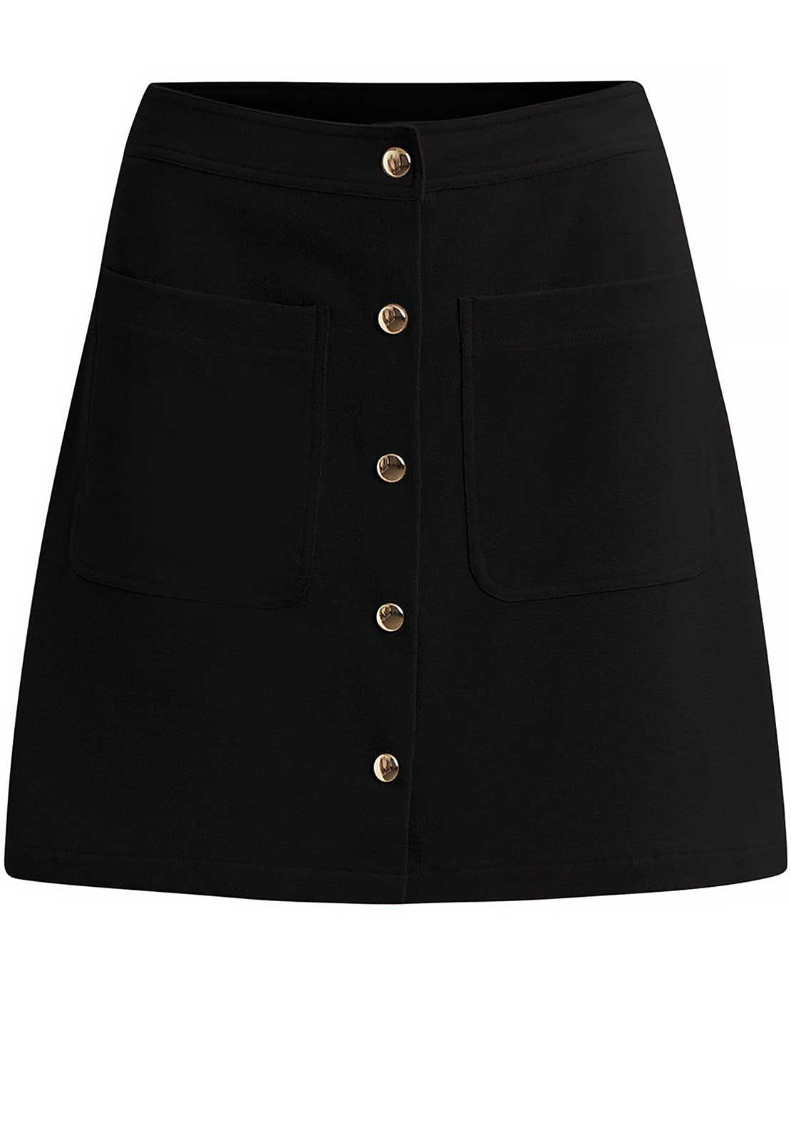 Vila Betina Buttoned A-line Skirt, Black