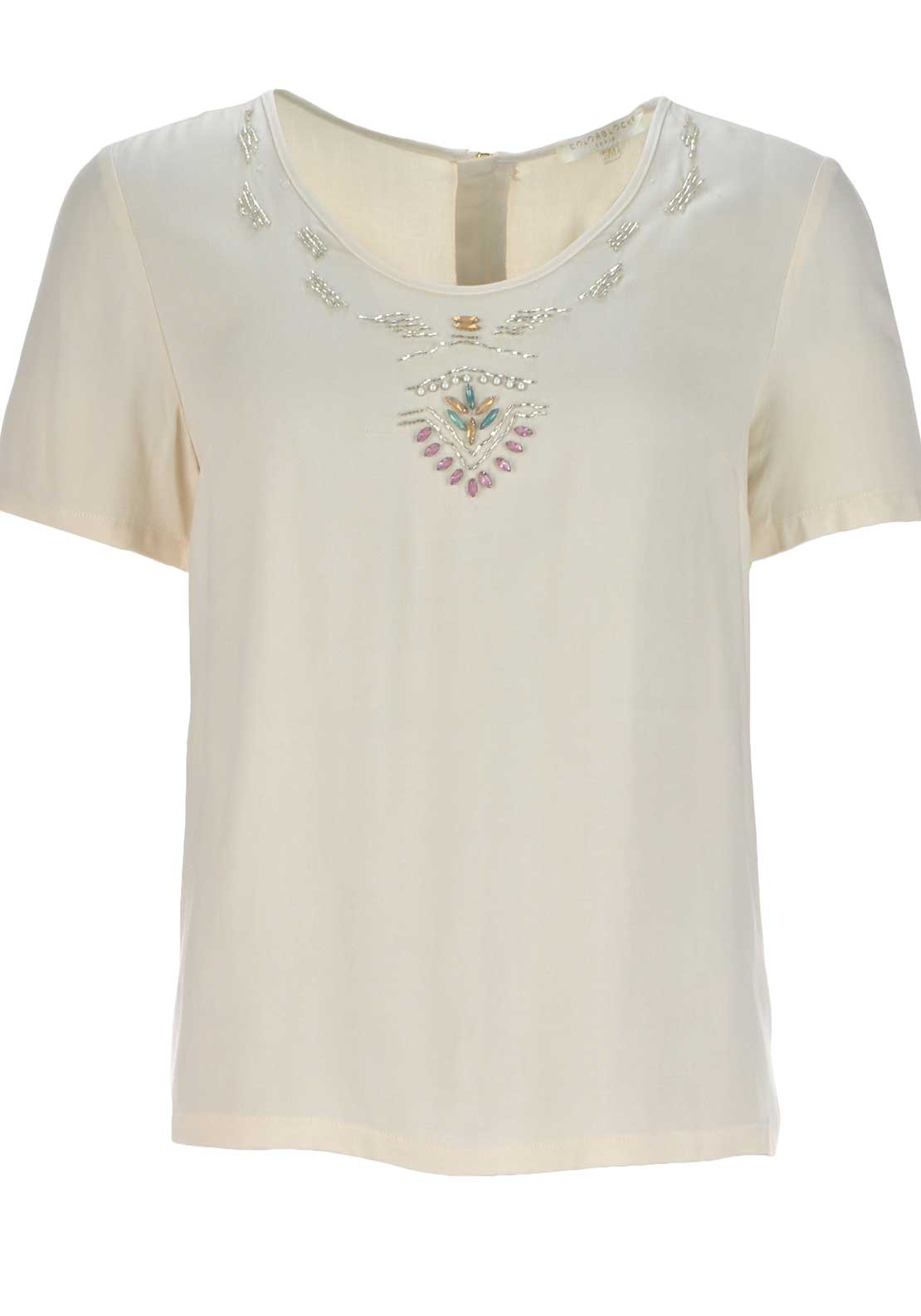 Color Block Diamante Embellished Top, Beige