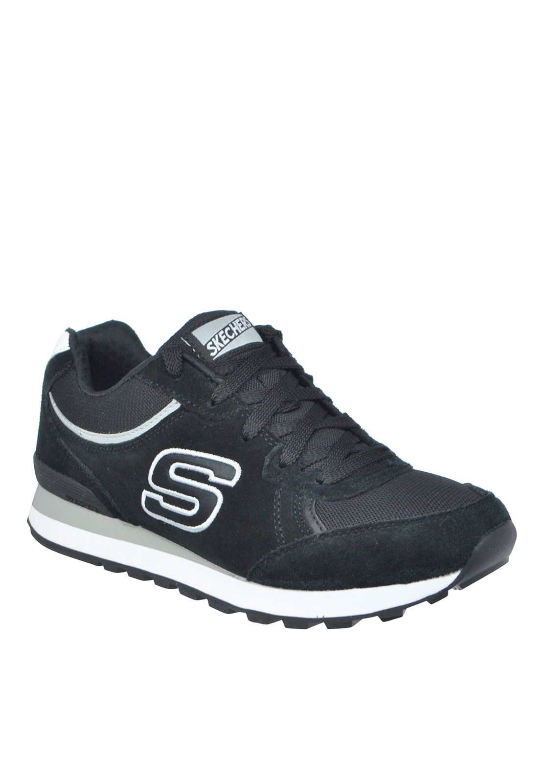 Skechers Womens Originals Suede Memory Foam Retro Fit Trainers, Black
