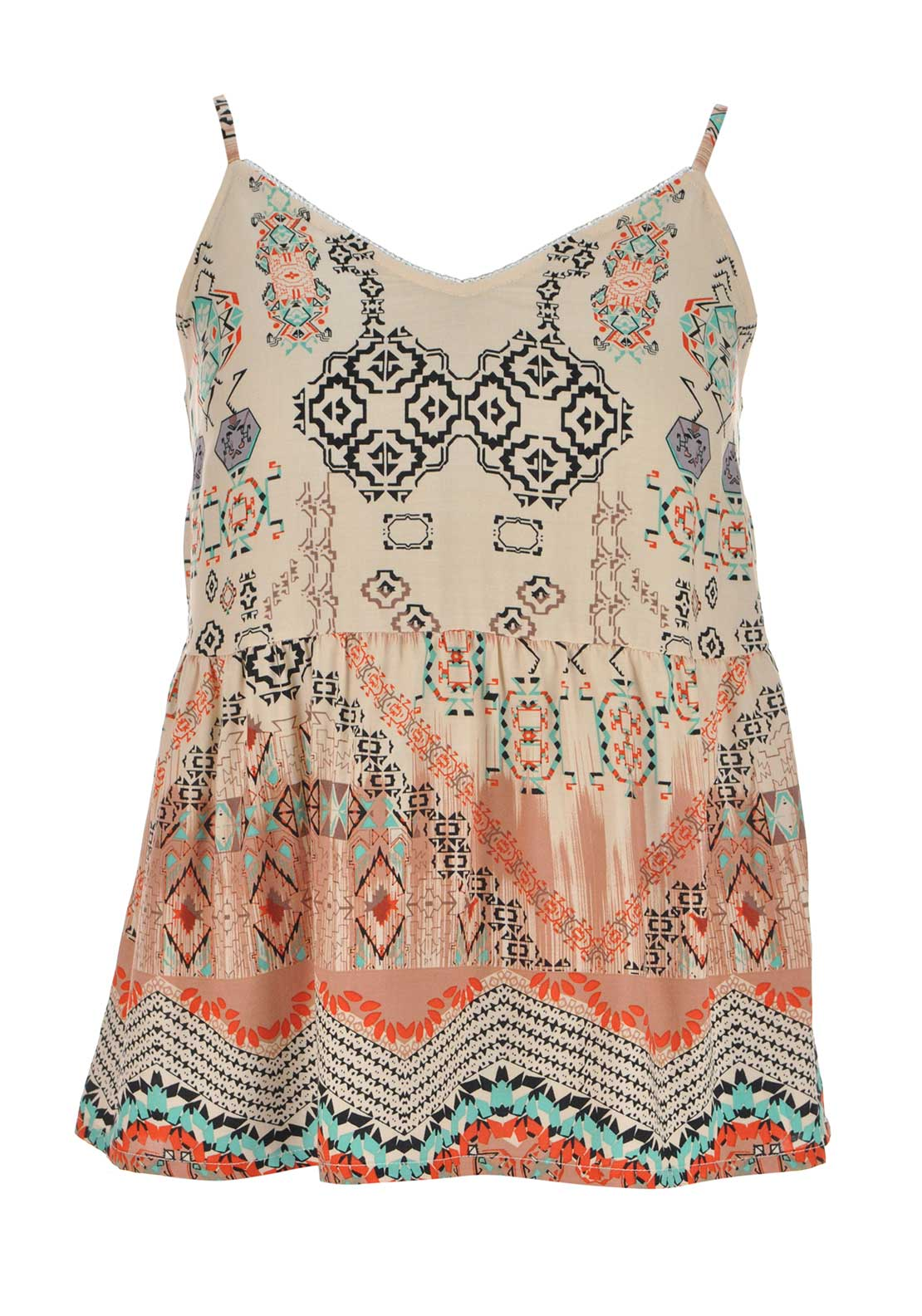 Color Block Aztec Print Strappy Top, Nude