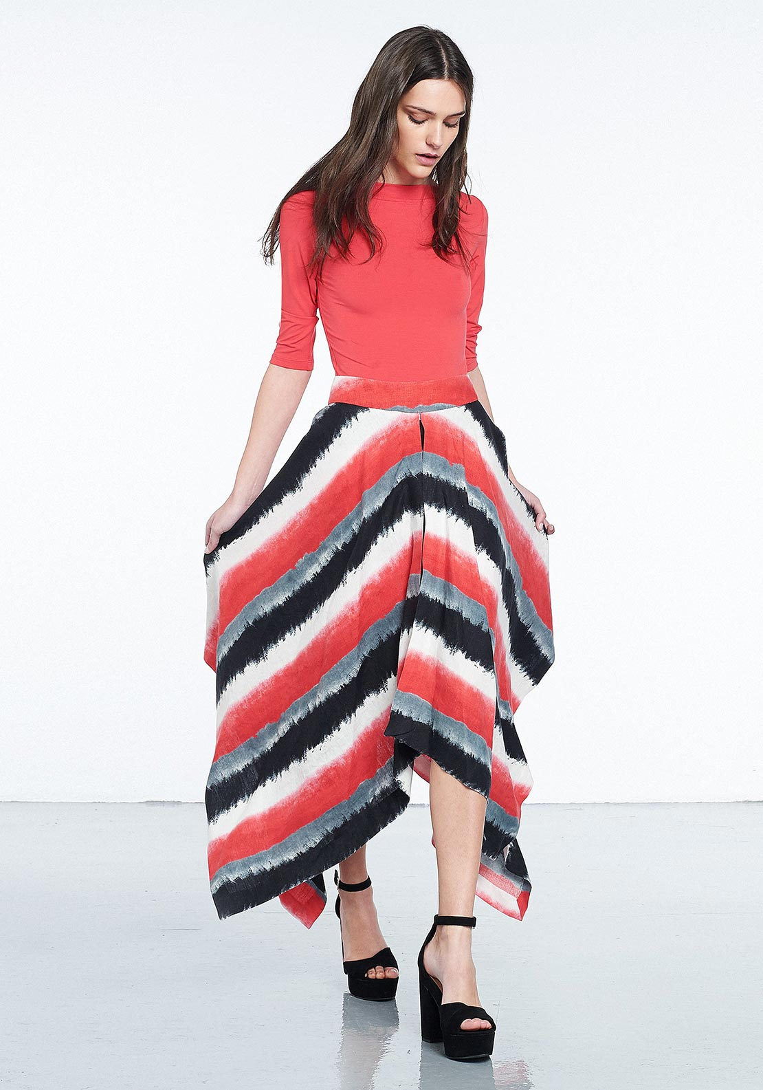 Isabel de Pedro Striped Double Layer Asymmetric Hem Linen Skirt, Multi-Coloured