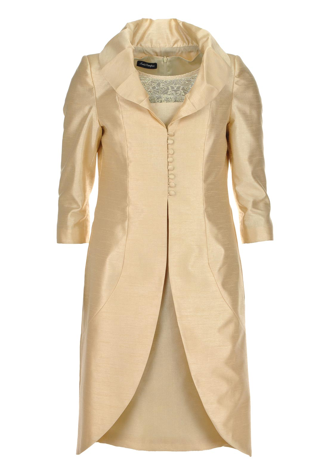 Isabel Campos Long Coat & Dress Occasion Outfit, Gold