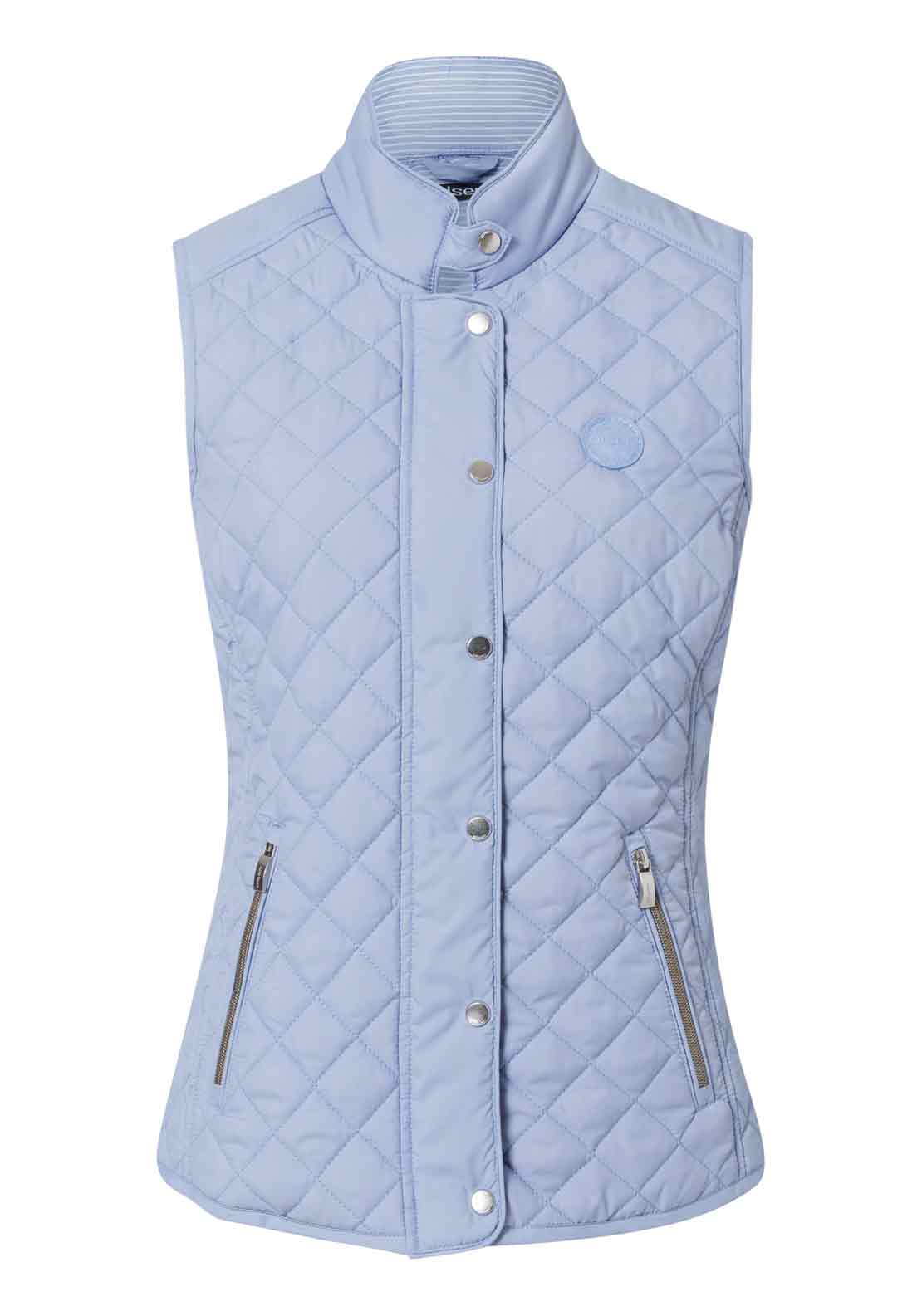 Olsen Diamond Quilted Gilet, Pale Blue