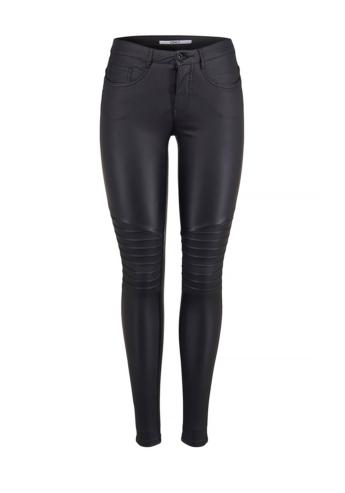 Only Reg Skinny Leg Leather Look Biker Jeans, Black