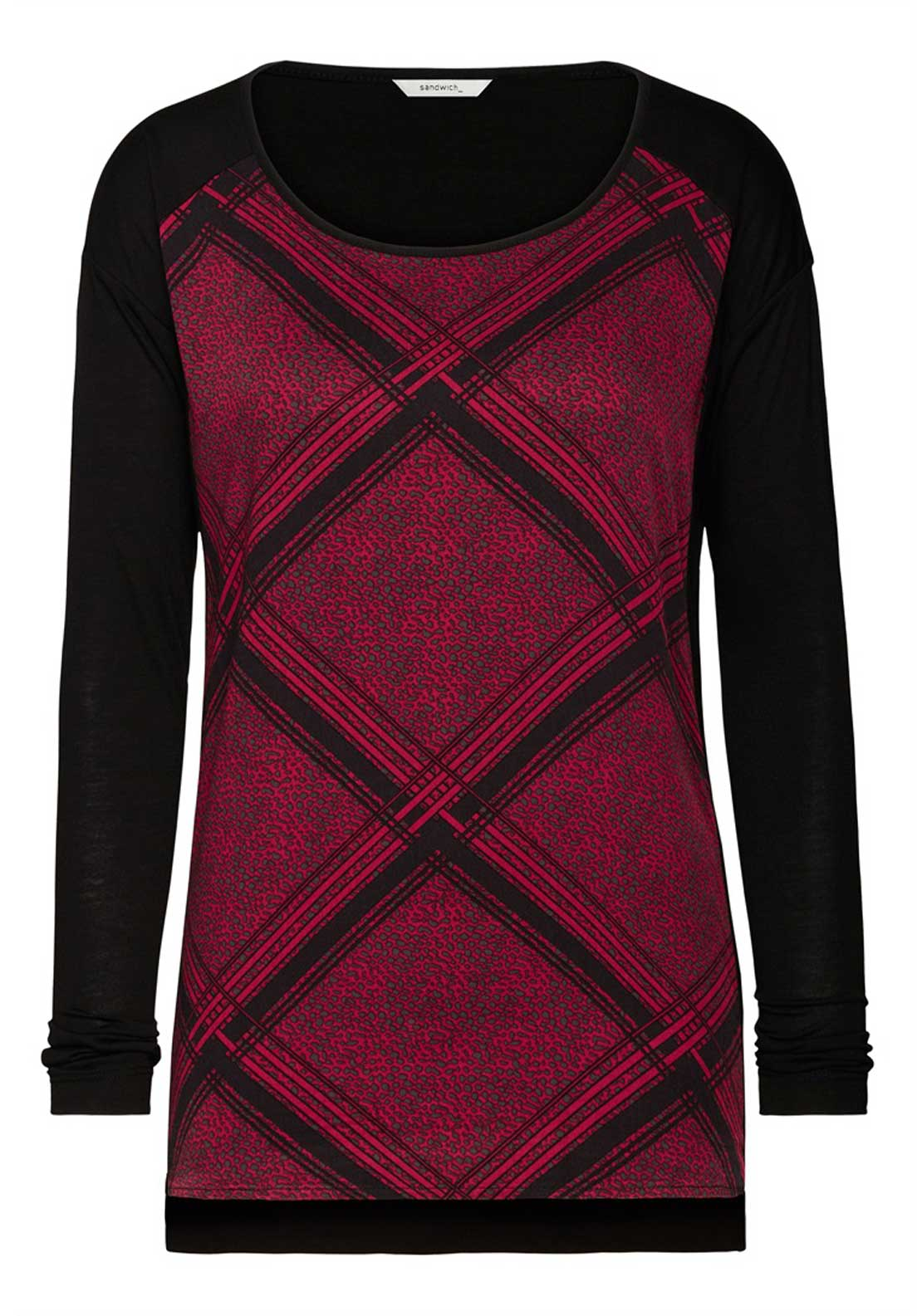 Sandwich Diamond Checked Long Sleeve Top, Black and Red