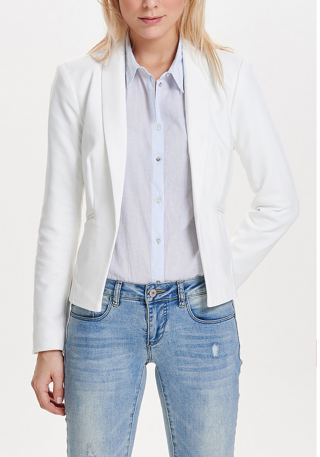 Only Arial Jersey Short Blazer Jacket, White