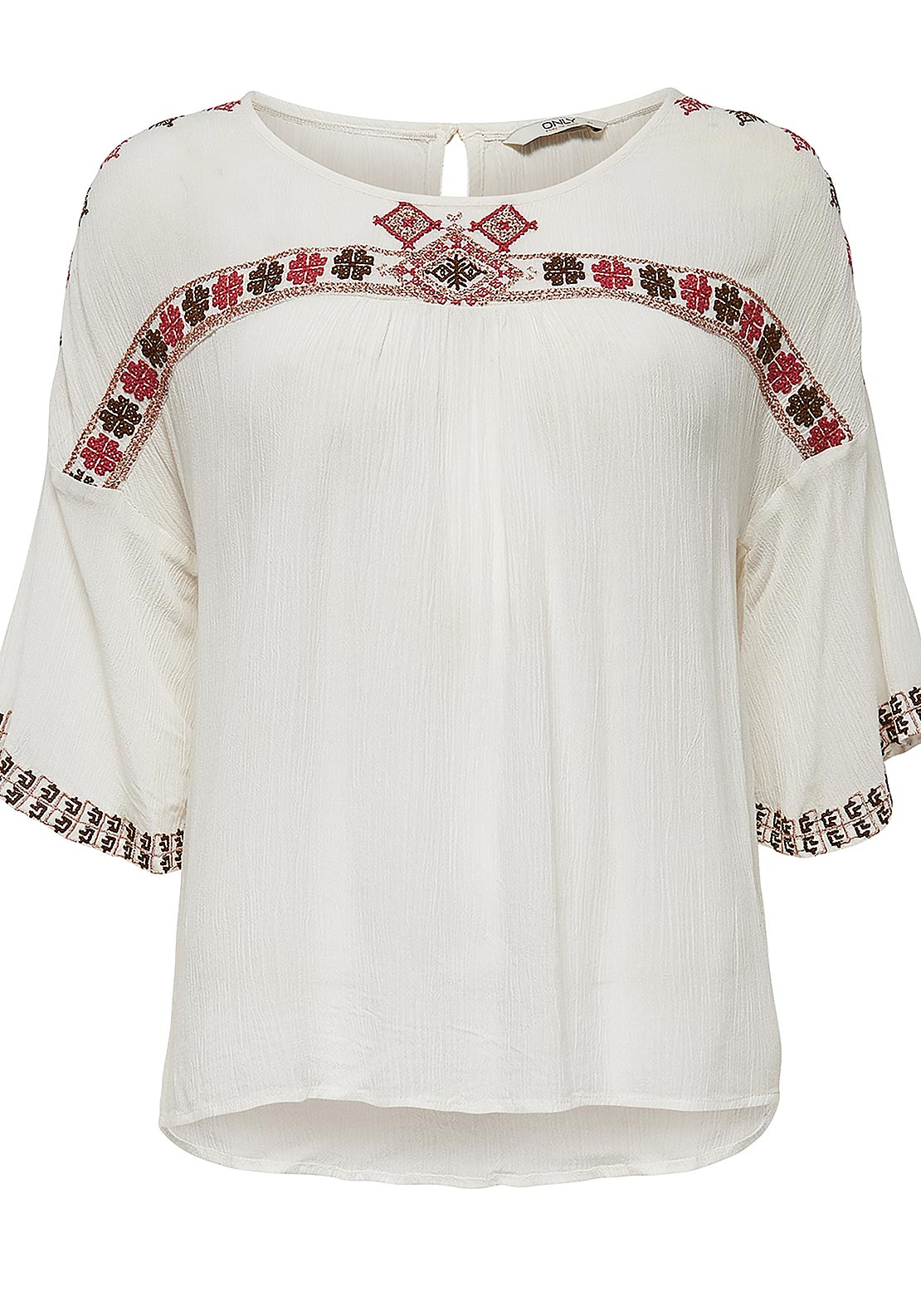 Only Lilly Embroidered Cropped Sleeve Top, Whisper White