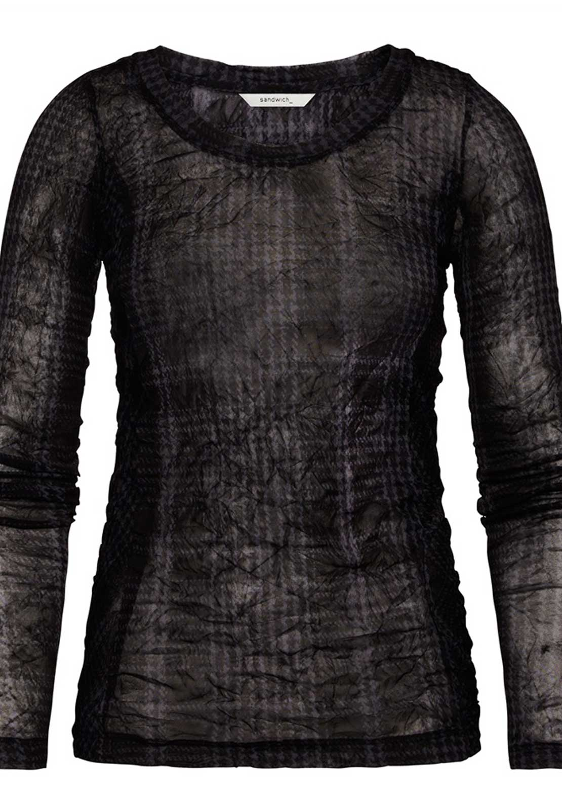 Sandwich Semi Sheer Houndstooth Print Long Sleeve Top, Black