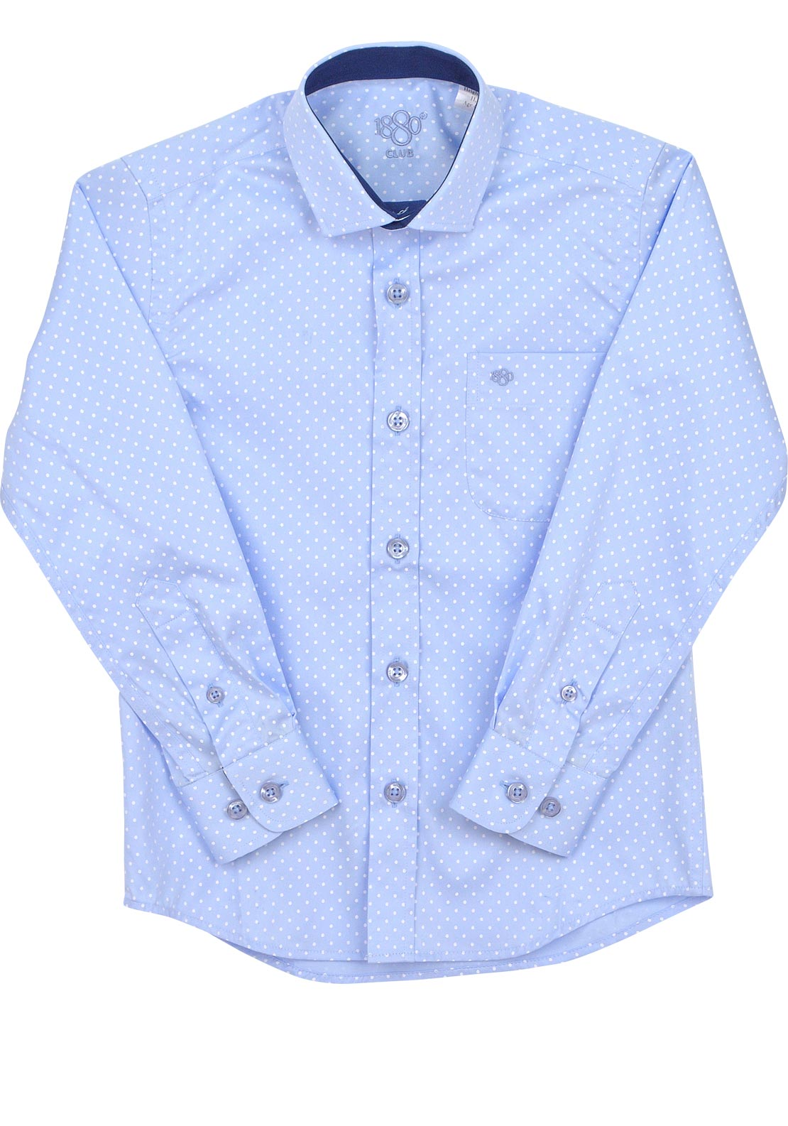 1880 Club Boys Polka Dot Shirt, Blue