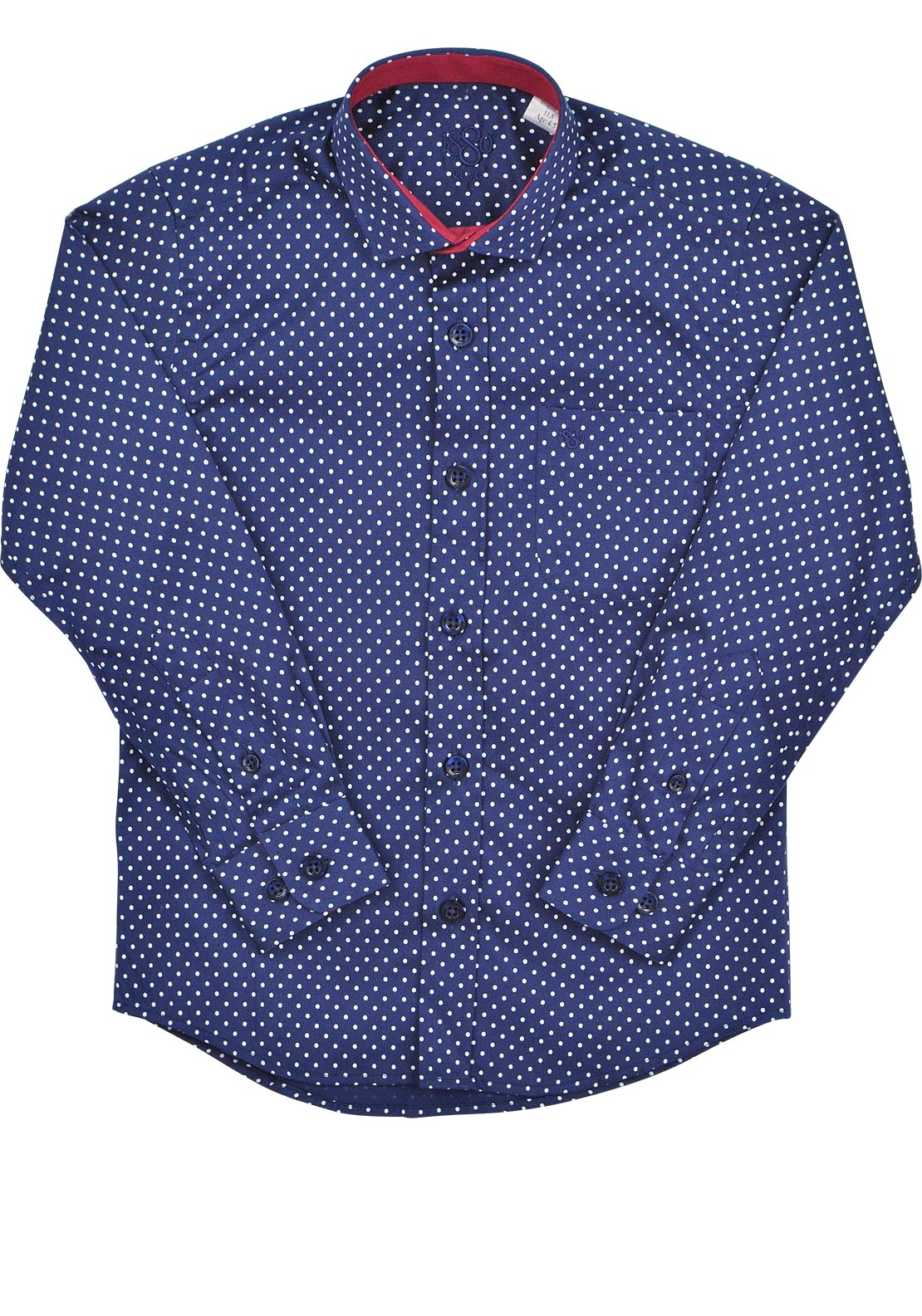 1880 Club Boys Polka Dot Shirt, Navy