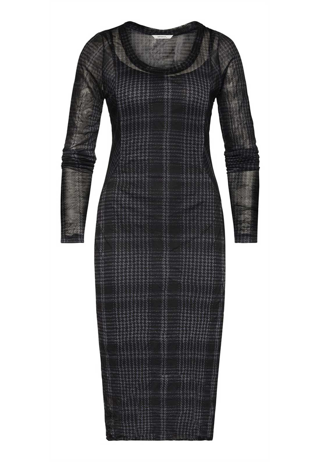 Sandwich Fitted Houndstooth Print Long Sleeve Chiffon Dress, Black