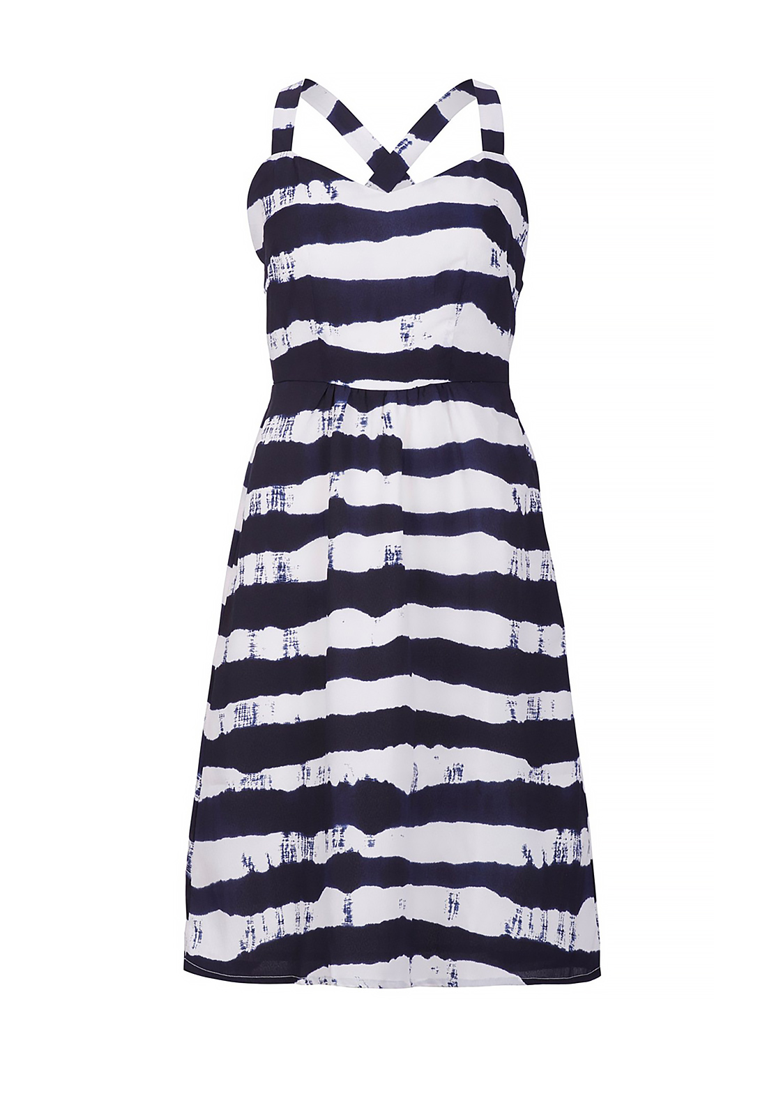 Boutique Nautical Striped Dress, Navy