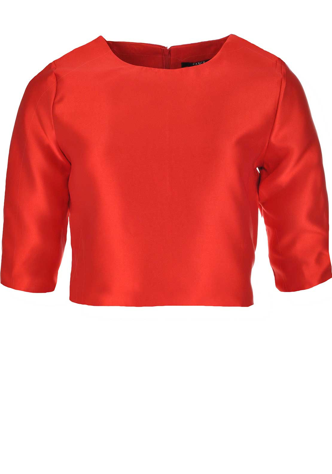 Boutique Cropped Sleeve Satin Crop Top, Red