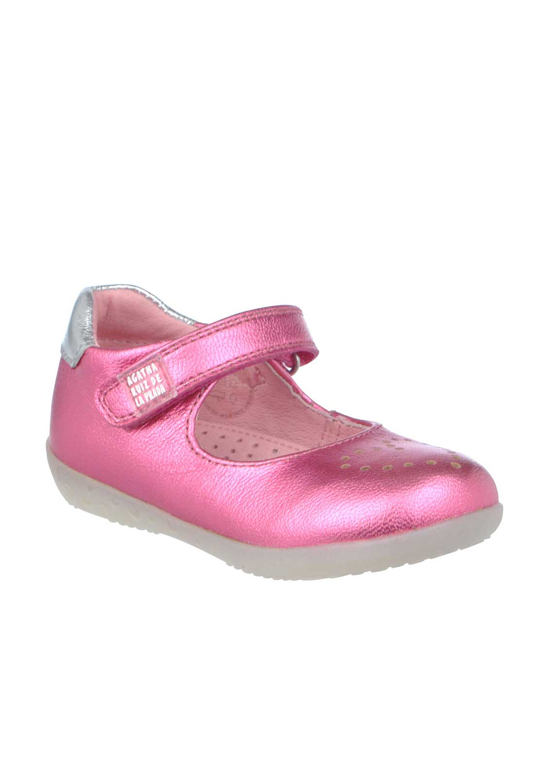 Agatha Ruiz De La Prada Baby Girls Leather Metallic Velcro Strap Shoes, Pink