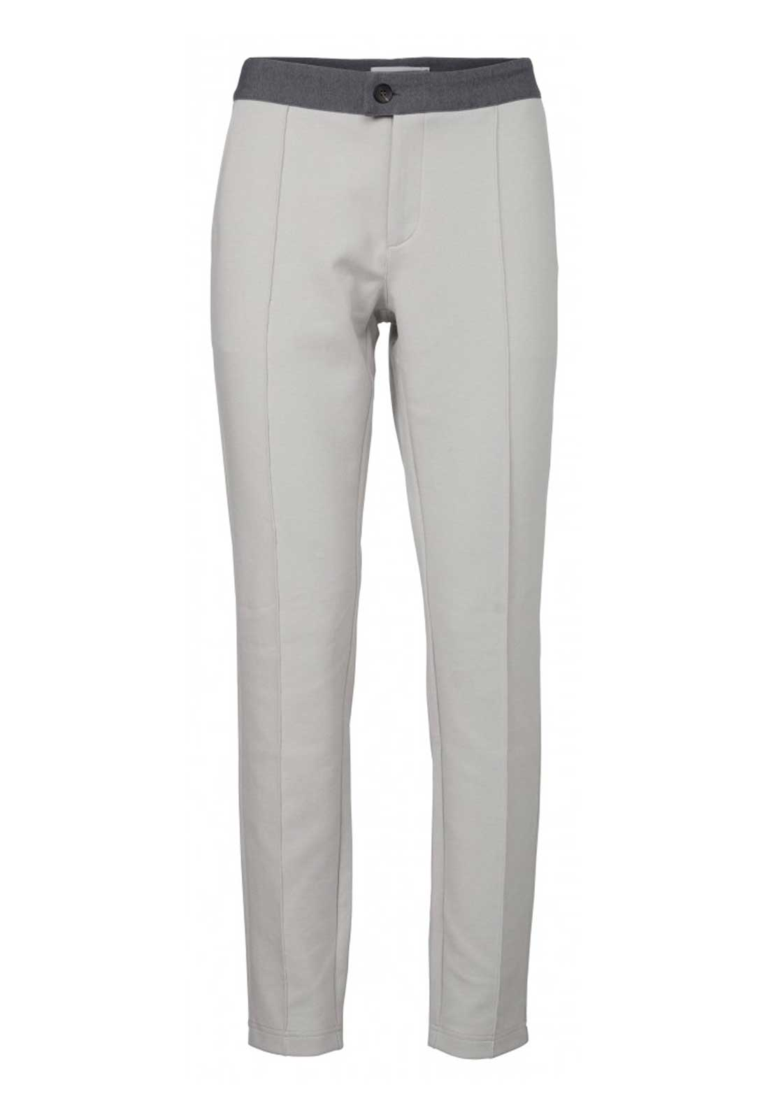 Yaya Heavy Jersey Slim Leg Trousers, Grey