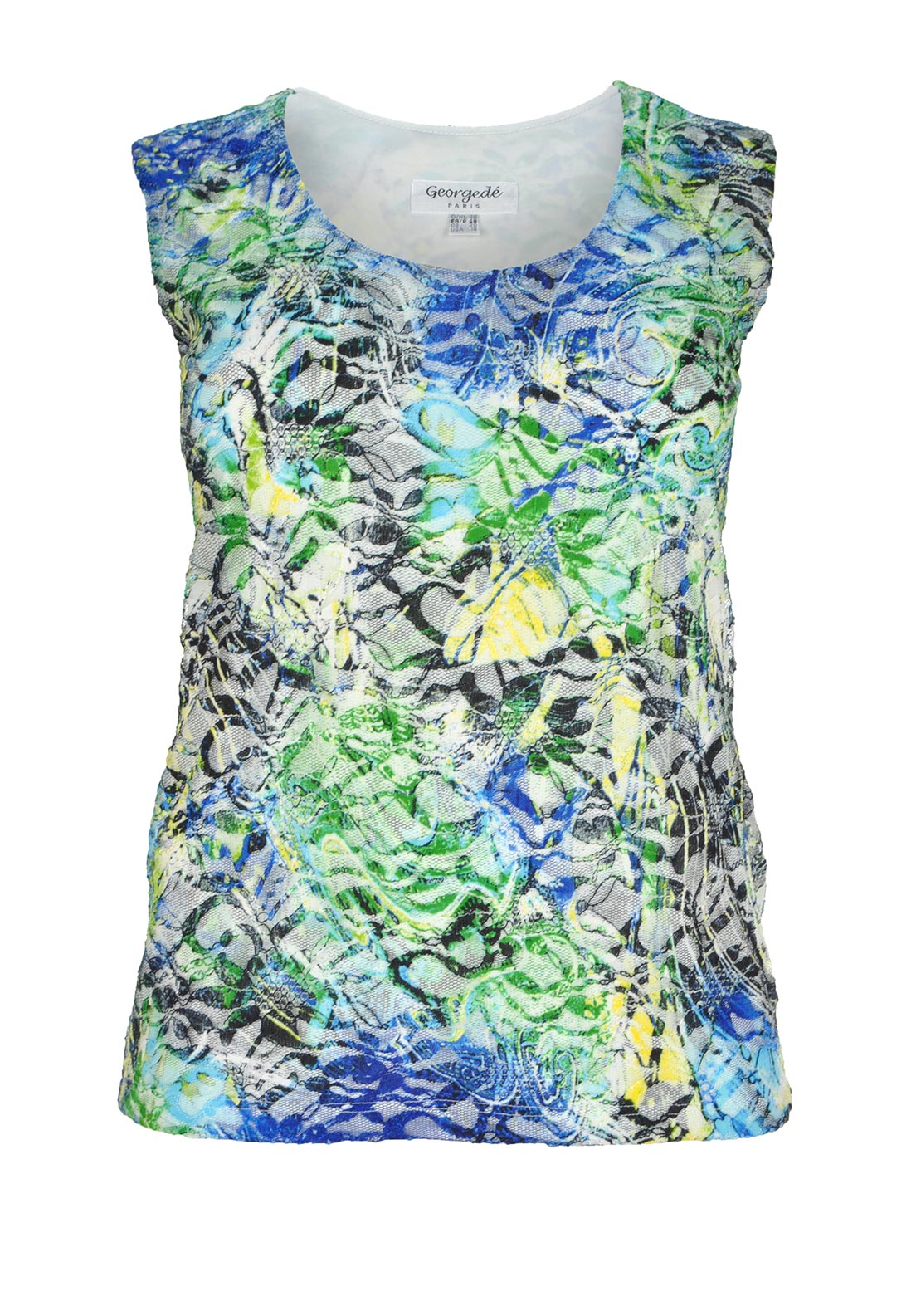 Georgede Printed Lace Sleeveless Top, Multi-Coloured