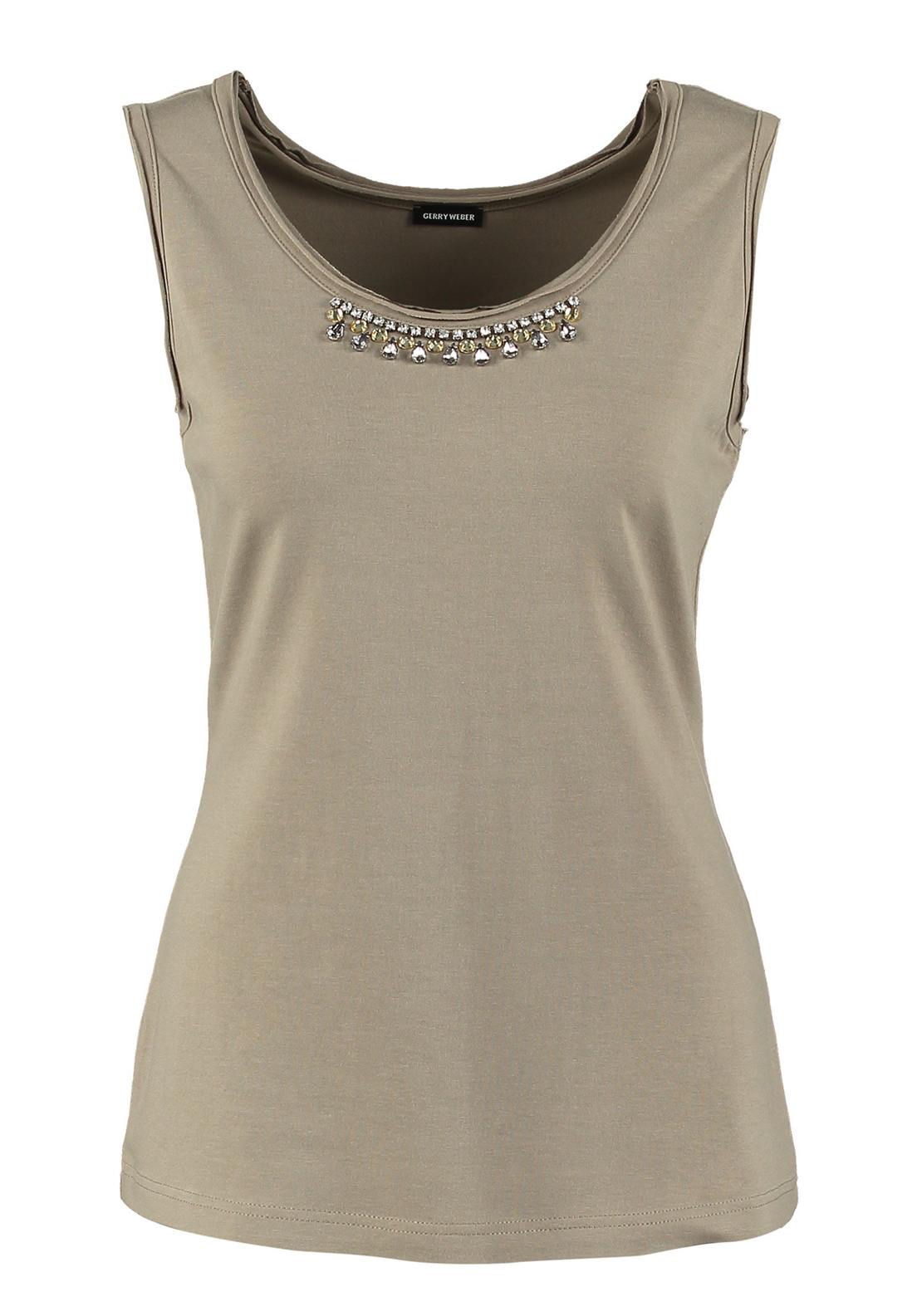 Gerry Weber Gemstone Embellished Sleeveless Vest Top, Khaki Green