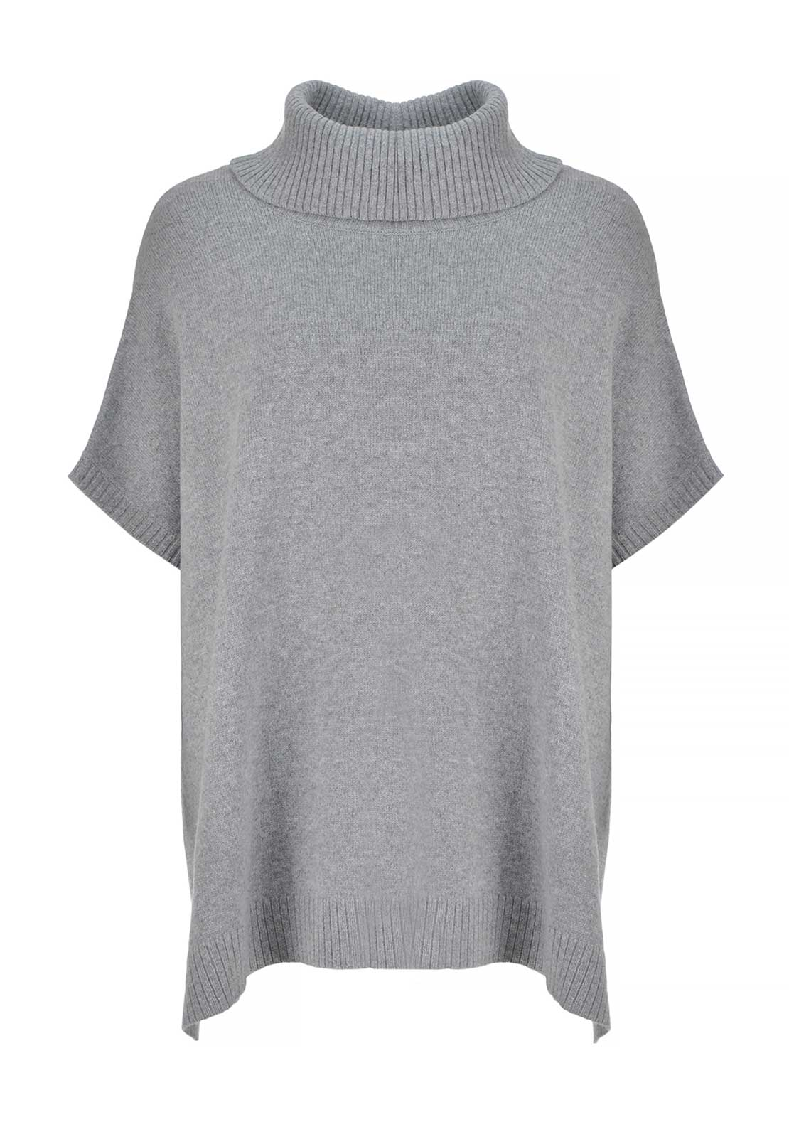 Gerry Weber Wool and Cotton Blend Oversize Poncho Sweater Jumper, Grey